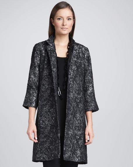 Satin Jacquard Long Jacket, Petite