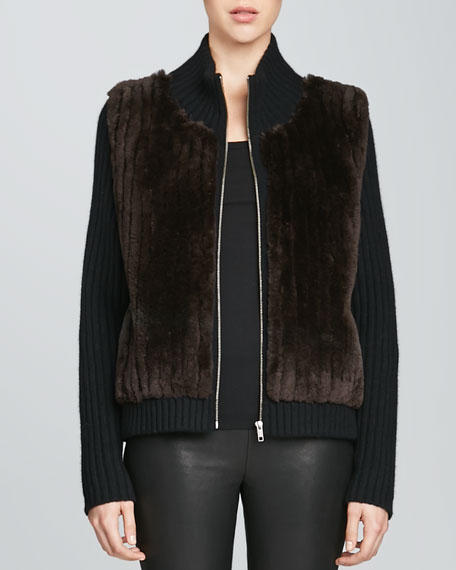 Ribbed Cashmere Jacket with Fur