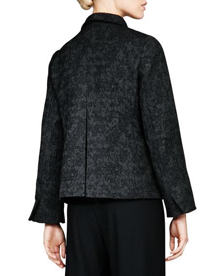 Threaded Jacquard High-Collar Jacket, Petite