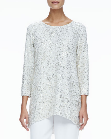 Glitter High-Low Tunic, Gold Ivory