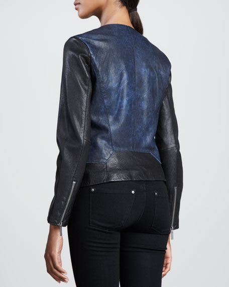 Colorblock Moto Jacket, Black/Blue