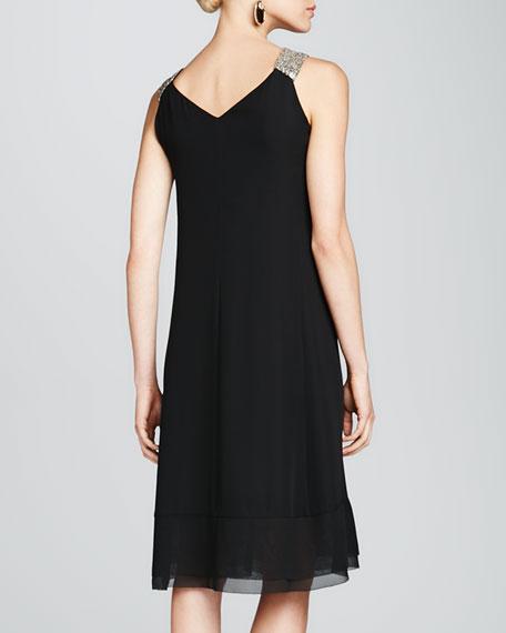 Beaded-Strap Georgette Dress, Black