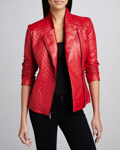 Quilted Leather Asymmetric-Zip Jacket