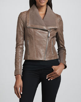 Neiman Marcus Textured Leather Moto Jacket