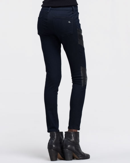 rag & bone/JEAN Halifax Leather-Panel Motocross Jeans, Midnight