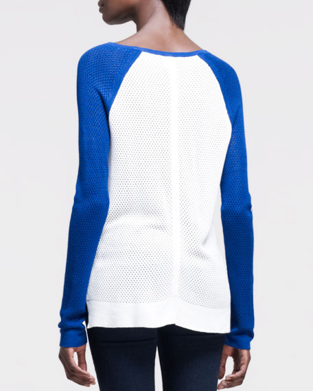 Genevieve Colorblock Pullover, White