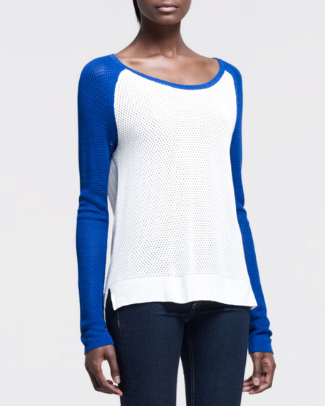Genevieve Colorblock Pullover, White