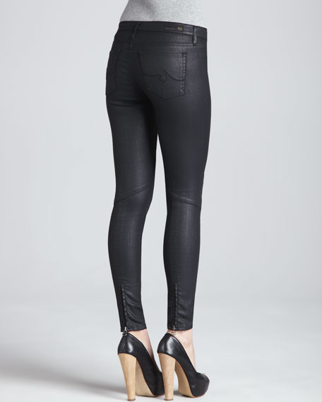 Moto-Style Leggings, Black Slick