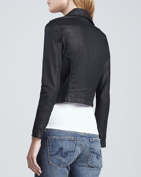 The Coated Moto Jacket in Black Slick