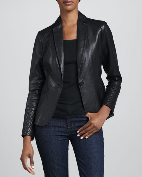 One-Button Leather Blazer