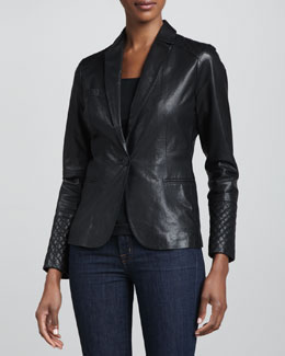 Neiman Marcus One-Button Leather Blazer