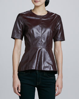Neiman Marcus Short-Sleeve Leather Peplum Top