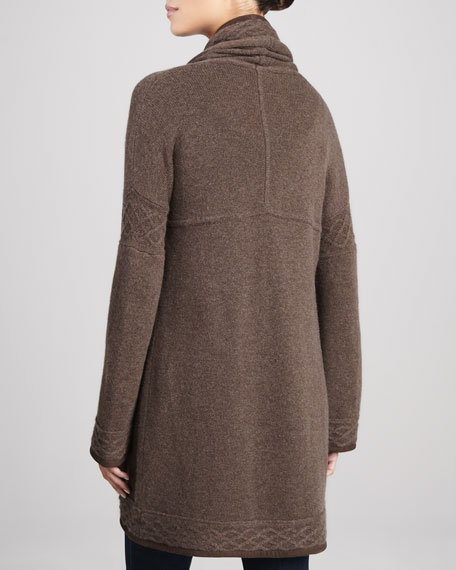 Suede & Cable Trimmed Cashmere Cardigan