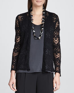 Eileen Fisher Wavy Wool Lace Cardigan, Black