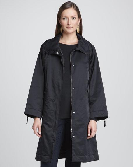 High-Collar Zip-Front Coat, Women's