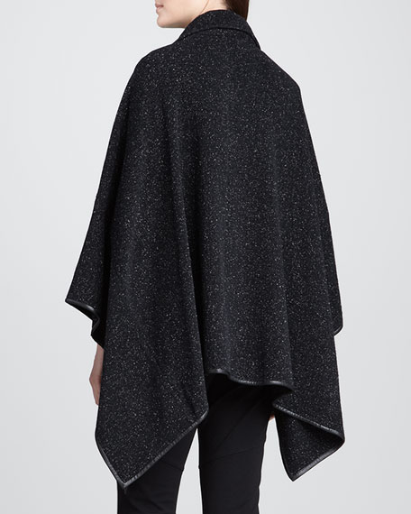 Plush Cotton Dash Cape with Leather Trim