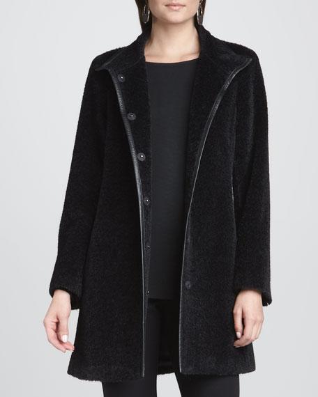 Leather-Trim Coat