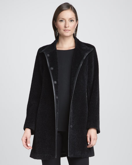 Leather-Trim Coat, Petite