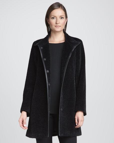 Leather-Trim Coat, Petite