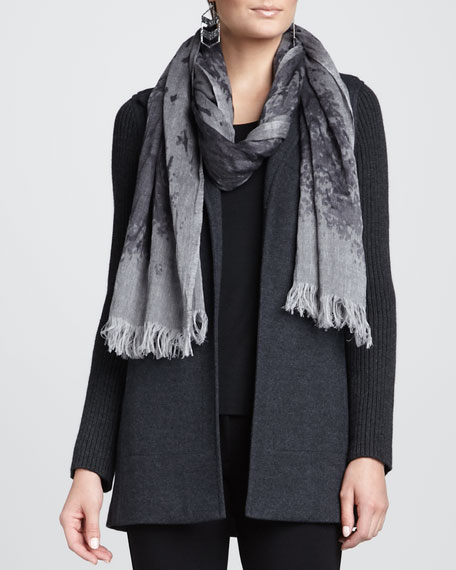 Mottled Linen-Wool Printed Scarf, Ash