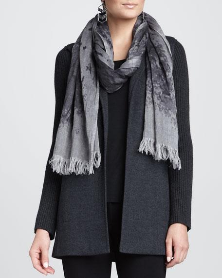 Mottled Linen-Wool Printed Scarf, Ash