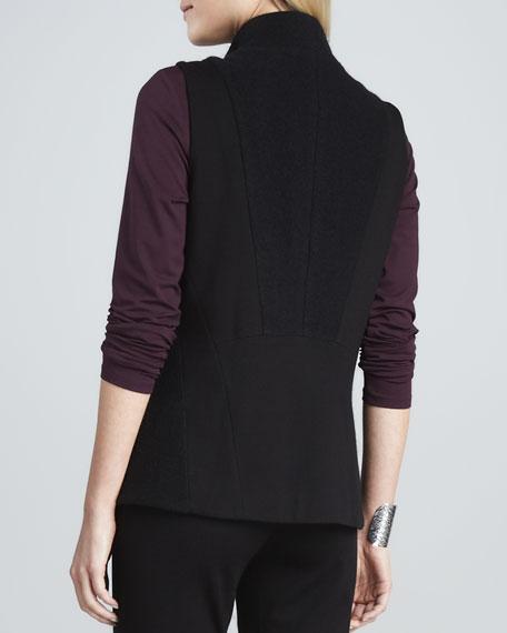 Boiled Wool Asymmetric-Zip Vest