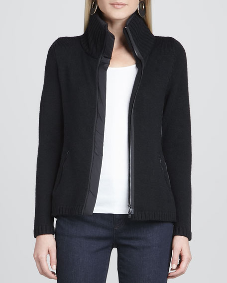 High-Collar Knit Parka-Trim Jacket