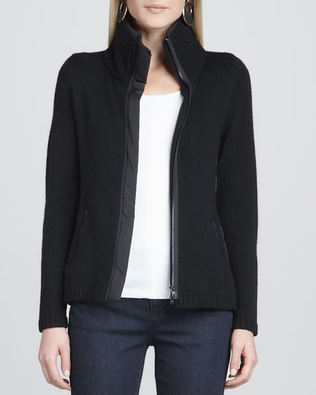 High-Collar Knit Parka-Trim Jacket, Women's