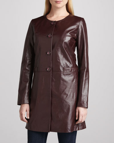 Neiman Marcus Basic Long Leather Jacket