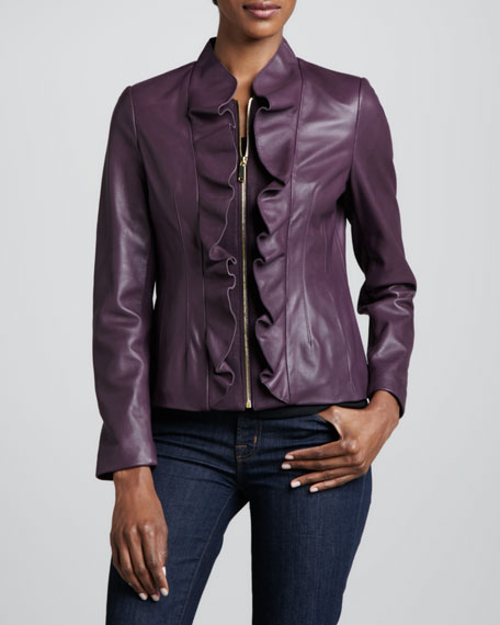 Kendrick Ruffle-Front Leather Jacket
