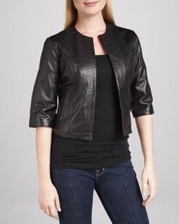 Neiman Marcus Leather Half-Sleeve Bolero Jacket