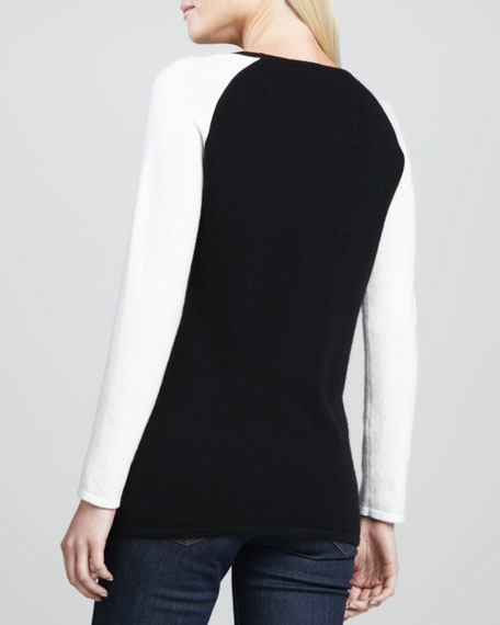 Two-Tone Baseball Cashmere Sweater