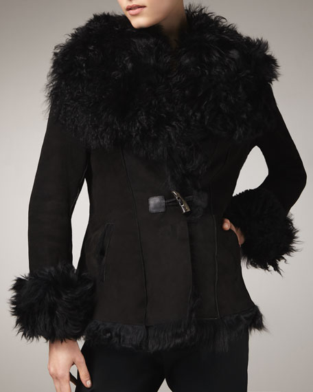 Shearling-Trim Suede Jacket
