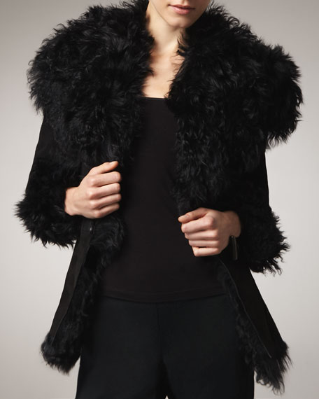 Shearling-Trim Suede Jacket