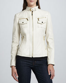 Neiman Marcus Chest-Pocket Buckle-Collar Leather Jacket