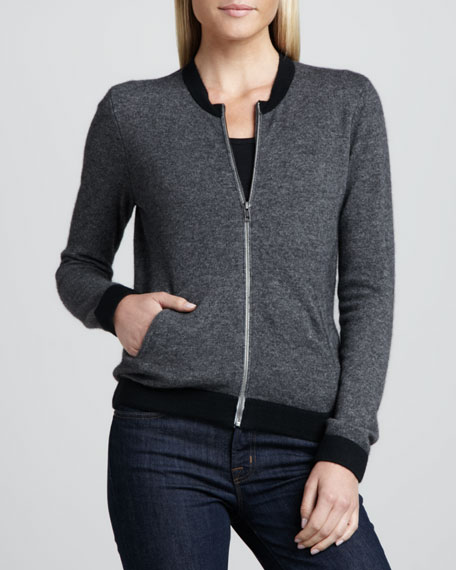 Colorblock Cashmere Zip-Front Cardigan