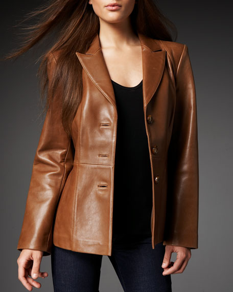 Leather Peplum Blazer