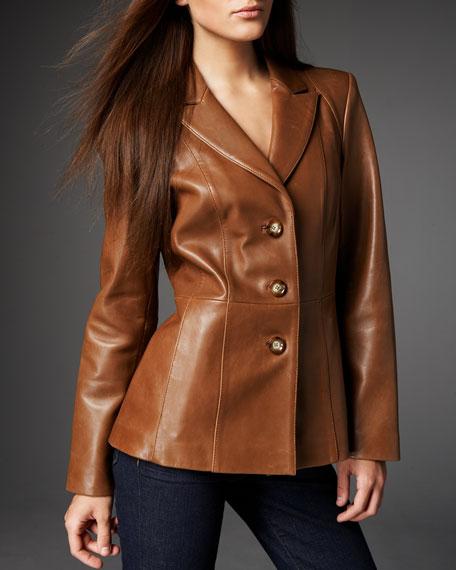 Neiman Marcus Leather Peplum Blazer