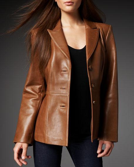 Leather Peplum Blazer, Women's