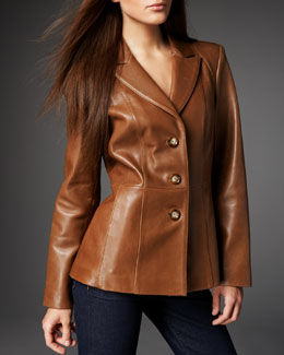 Neiman Marcus Leather Peplum Blazer, Women's