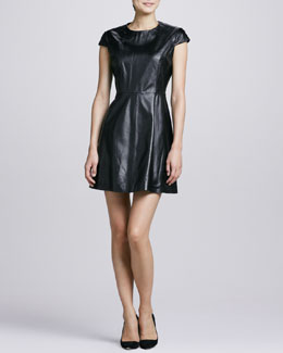 Neiman Marcus Leather Fit-and-Flare Dress