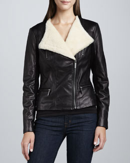 Neiman Marcus Shearling-Collar Leather Biker Jacket