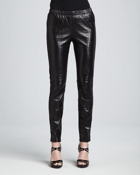 Croc-Embossed Leather Leggings