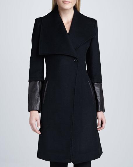 Carolotta Leather-Cuff Coat