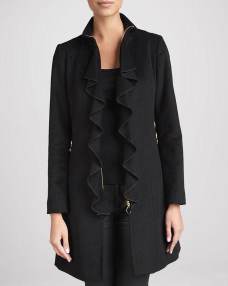 Kendra Ruffle-Front Coat
