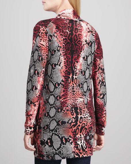 Python/Leopard-Print Cashmere Cardigan