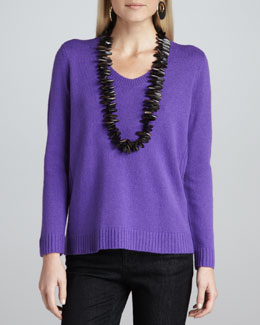 Eileen Fisher Yak-Wool V-Neck Sweater Top