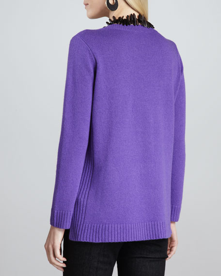 Yak-Wool V-Neck Sweater Top, Petite