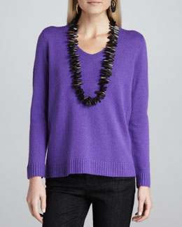 Eileen Fisher Yak-Wool V-Neck Sweater Top, Petite
