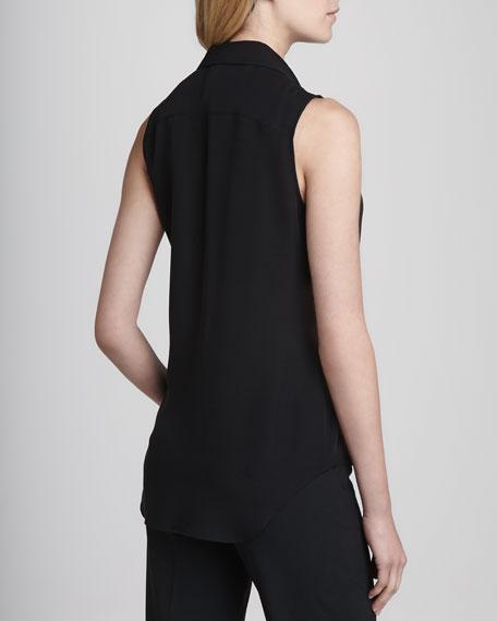 Duria Sleeveless Silk Blouse, Black
